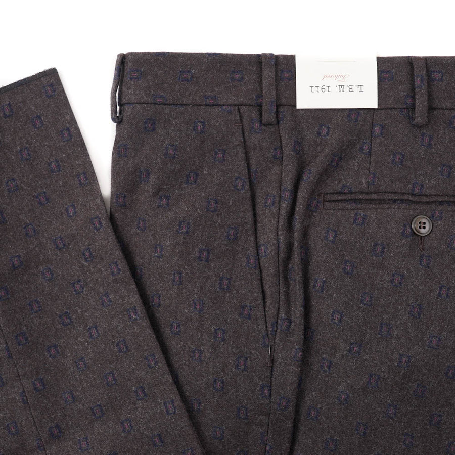 L.B.M. 1911 Brown-Blue Jacquard Wool Pants