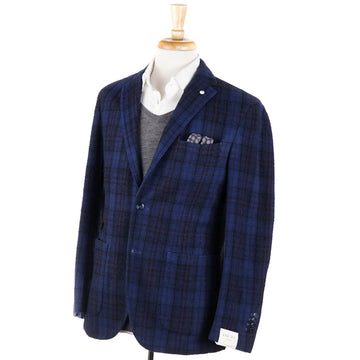 L.B.M. 1911 Blue Check Washed Wool Sport Coat