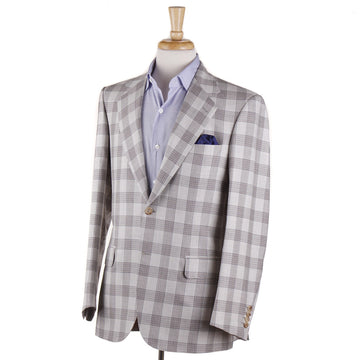 Brioni Pale Gray Check Wool-Silk-Linen Sport Coat