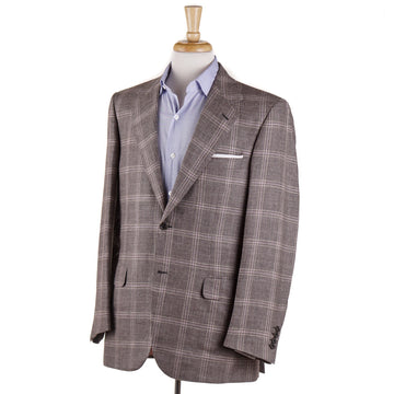 Brioni Dove Beige Check Wool-Silk-Linen Sport Coat