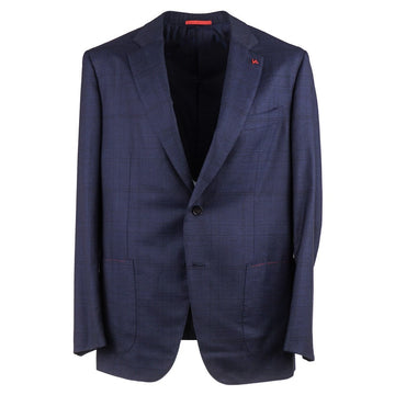 Isaia Navy Blue Layered Check Wool Suit