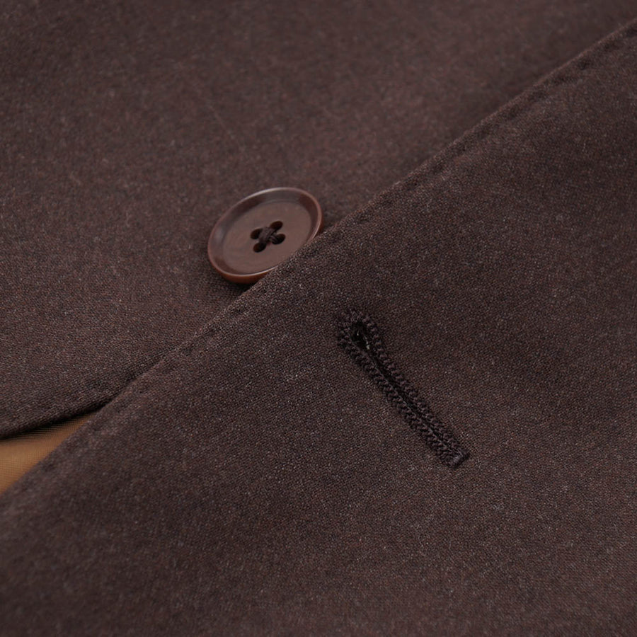 Isaia Chocolate Brown Stretch Wool Suit