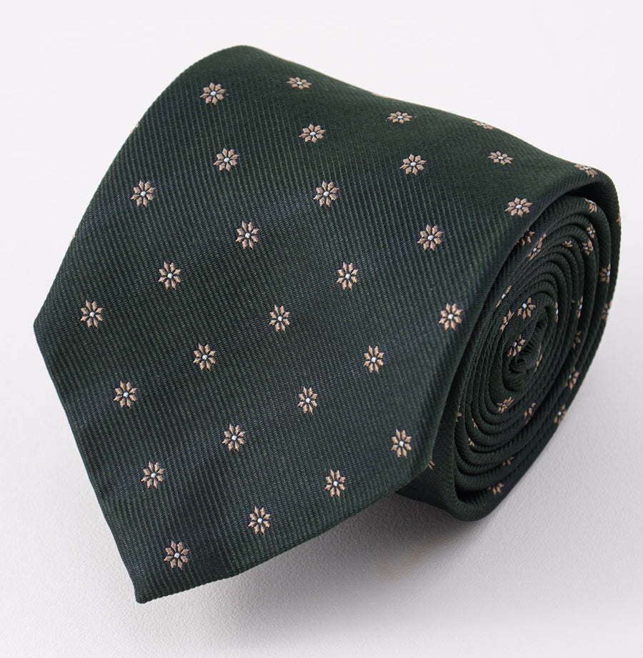 Cesare Attolini Dark Green Floral Silk Tie - Top Shelf Apparel
