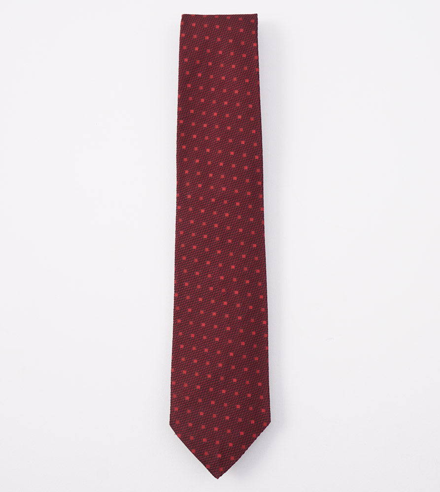 Cesare Attolini Burgundy Jacquard Silk Tie - Top Shelf Apparel