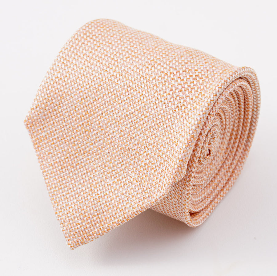 Cesare Attolini Coral Orange Woven Silk Tie - Top Shelf Apparel
