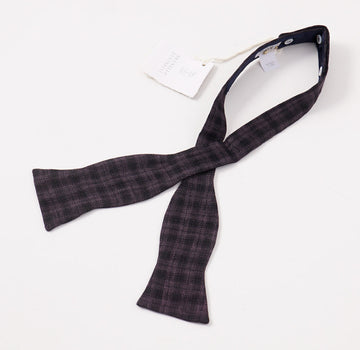 Brunello Cucinelli Plum Check Linen-Wool-Silk Bow Tie