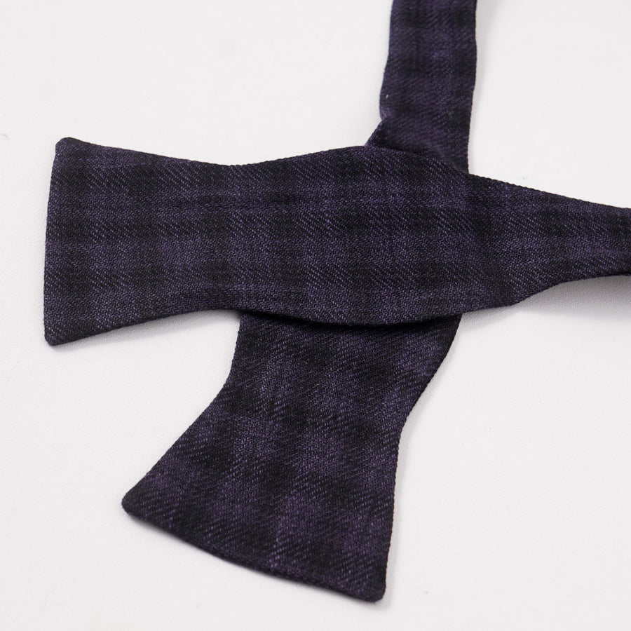 Brunello Cucinelli Purple Check Linen-Wool-Silk Bow Tie