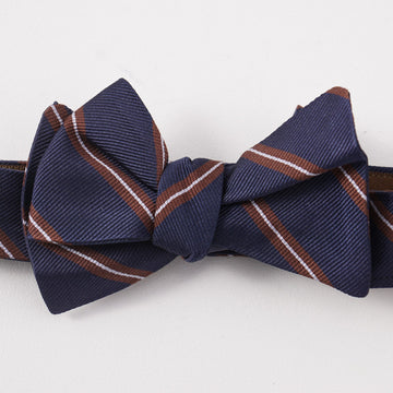 Brunello Cucinelli Navy and Brown Repp Stripe Bow Tie