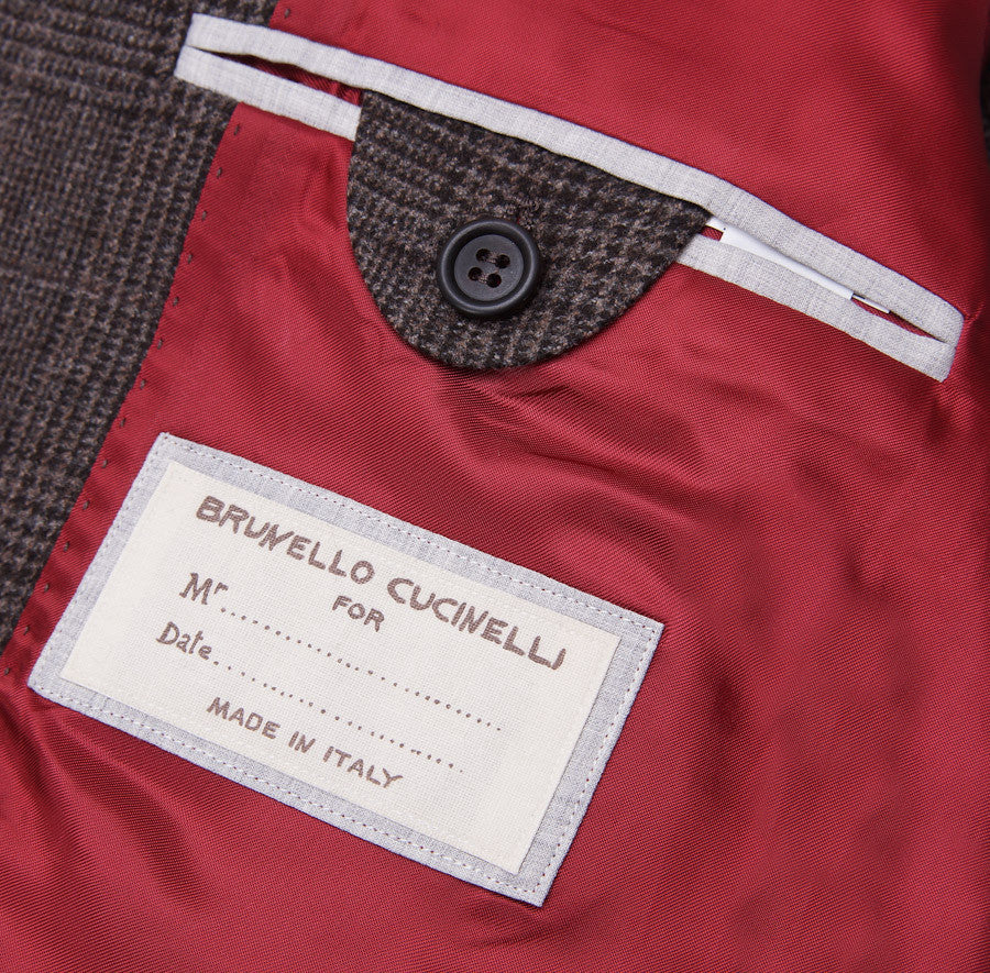 Brunello Cucinelli Brown Check Suit Eu 56/US 46 - Top Shelf Apparel - 12