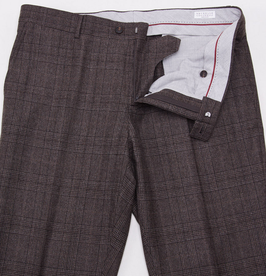 Brunello Cucinelli Brown Check Suit Eu 56/US 46 - Top Shelf Apparel - 13