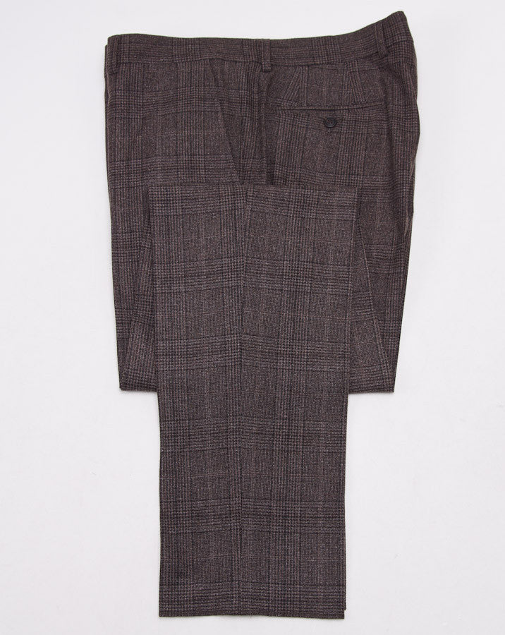 Brunello Cucinelli Brown Check Suit Eu 56/US 46 - Top Shelf Apparel - 14