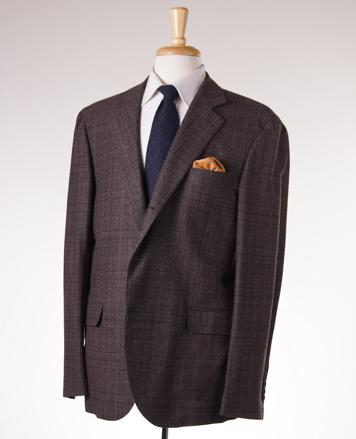 Brunello Cucinelli Brown Check Suit Eu 56/US 46 - Top Shelf Apparel - 1