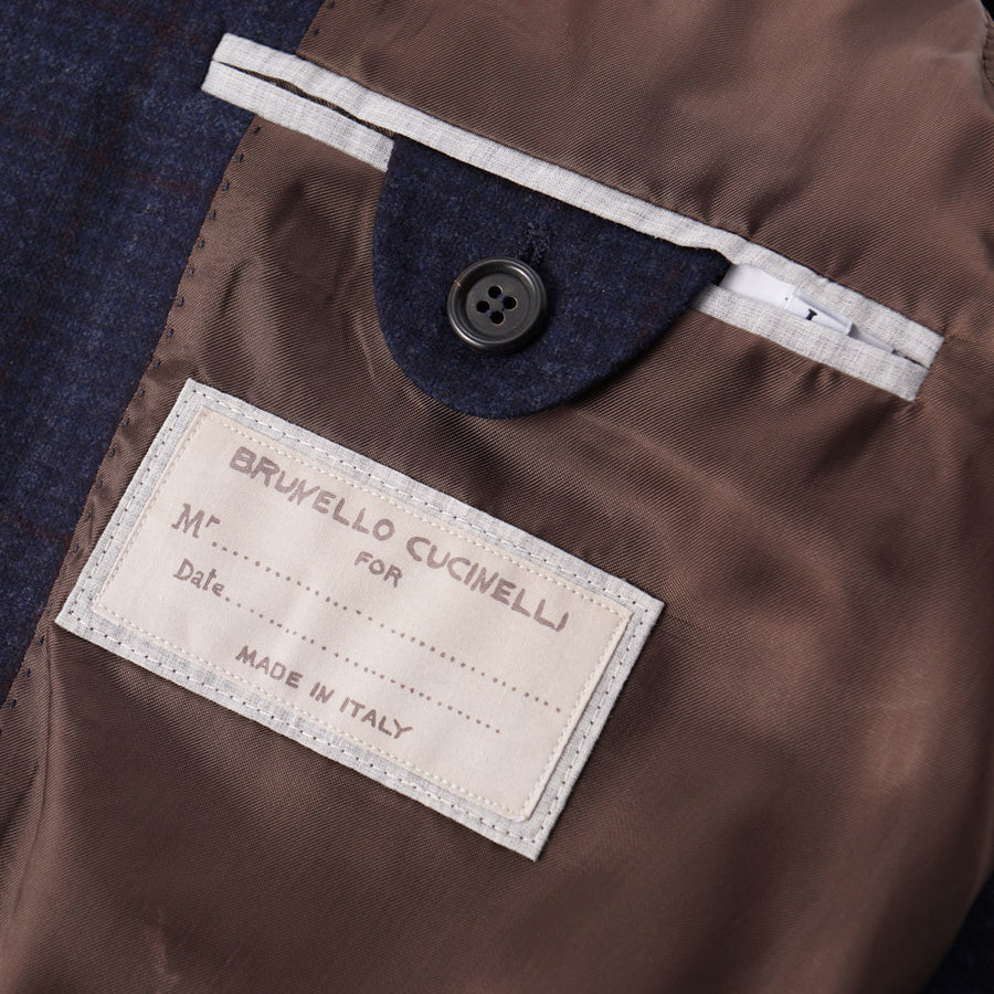 Brunello Cucinelli Blue Check Wool-Cashmere Sport Coat - Top Shelf Apparel