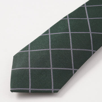 Brunello Cucinelli Green and Gray Check Silk Tie