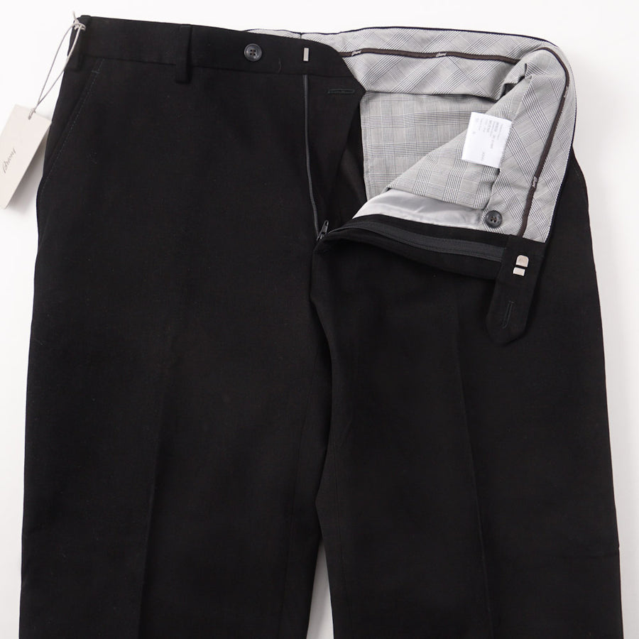 Brioni Black Twill Cotton Pants with Leather Details - Top Shelf Apparel