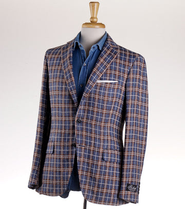 Belvest Woven Check Linen and Cotton Sport Coat