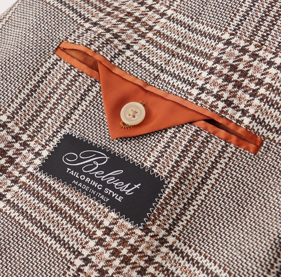 Belvest Brown Check Wool-Silk-Linen Sport Coat