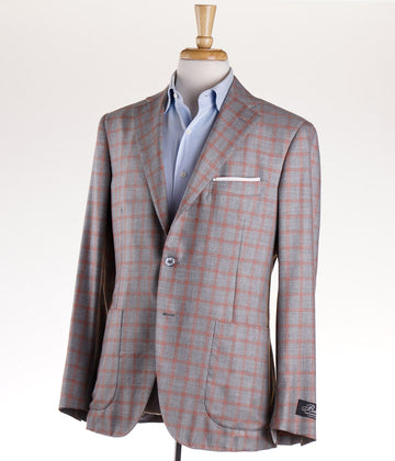 Belvest Gray Check Cashmere-Silk Sport Coat