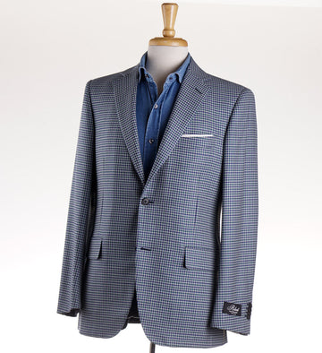 Belvest Houndstooth Check Wool Sport Coat
