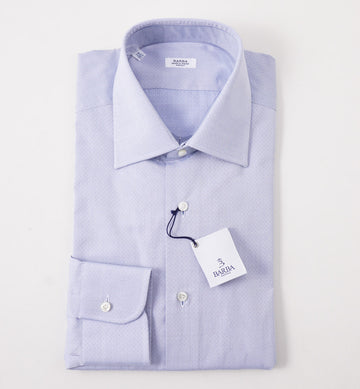 Barba Cotton Shirt in Blue Diamond Jacquard
