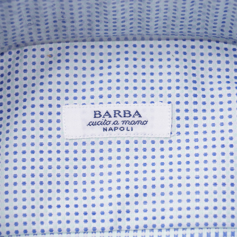 Barba Cotton Shirt in Green and Blue Dot Jacquard