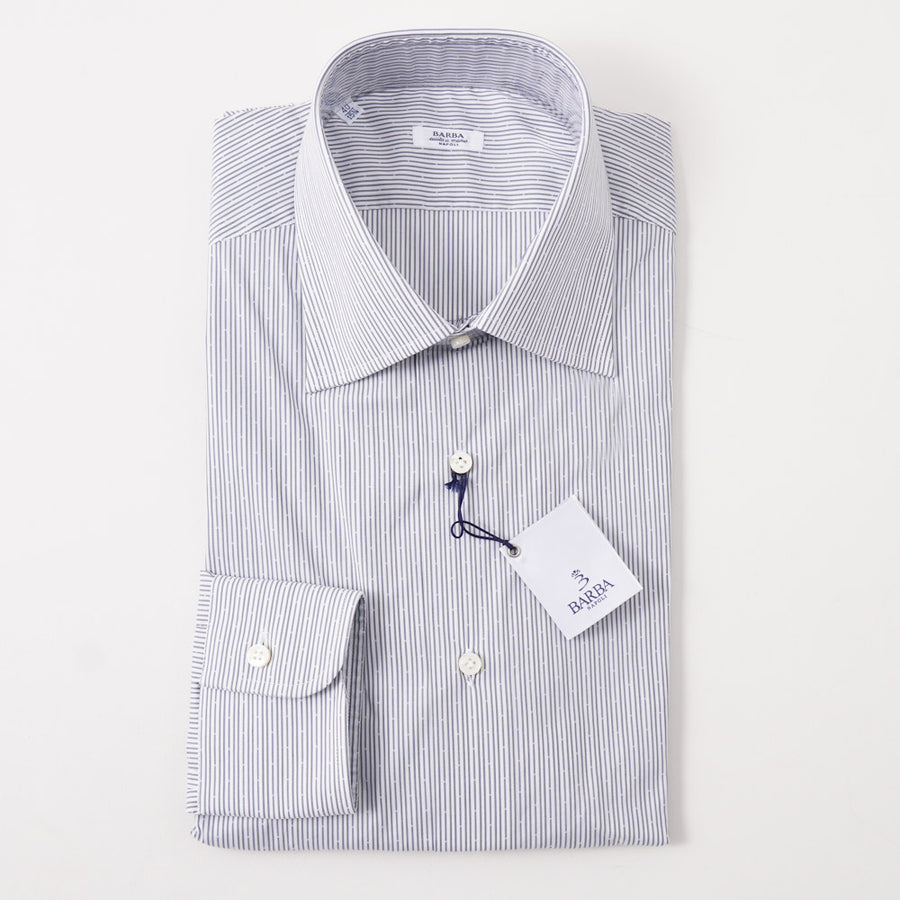 Barba Cotton Shirt in Gray Jacquard Stripe - Top Shelf Apparel
