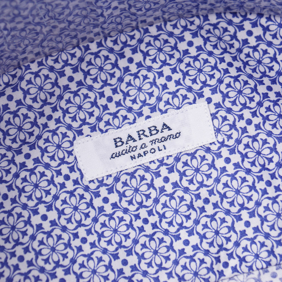 Barba Cotton Shirt in Navy Blue Floral Print
