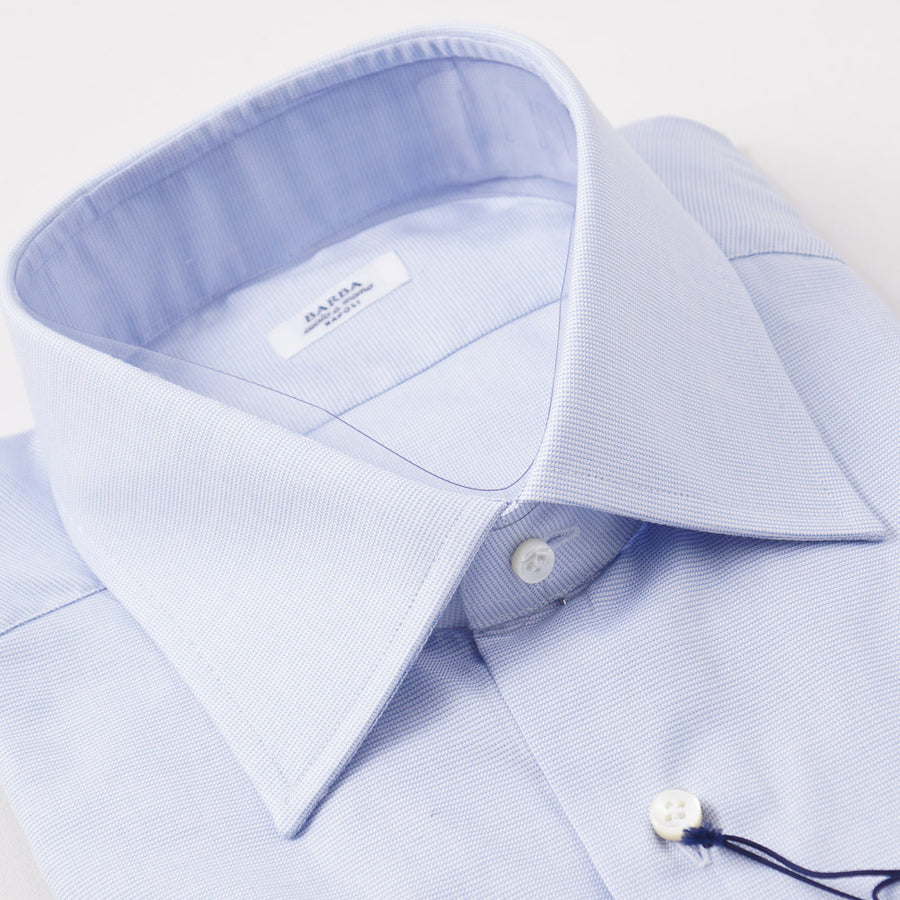 Barba Cotton Shirt in Sky Blue Micro Nailhead