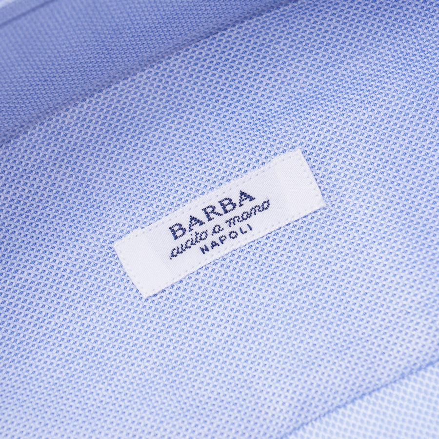 Barba Cotton Shirt in Sky Blue Woven