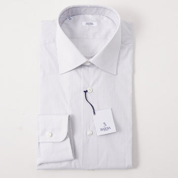 Barba Cotton Shirt in White and Black Pencil Stripe
