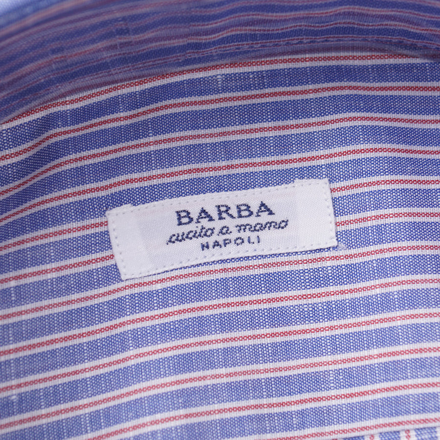 Barba Cotton Shirt in Blue and Red Stripe