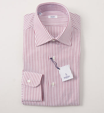 Barba Cotton Shirt in Burgundy and White Stripe