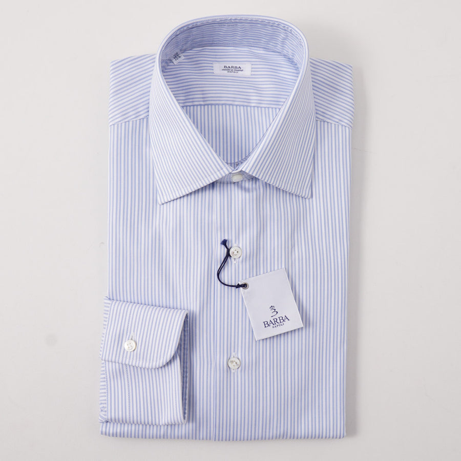Barba Oxford Cotton Shirt in Sky Blue Stripe