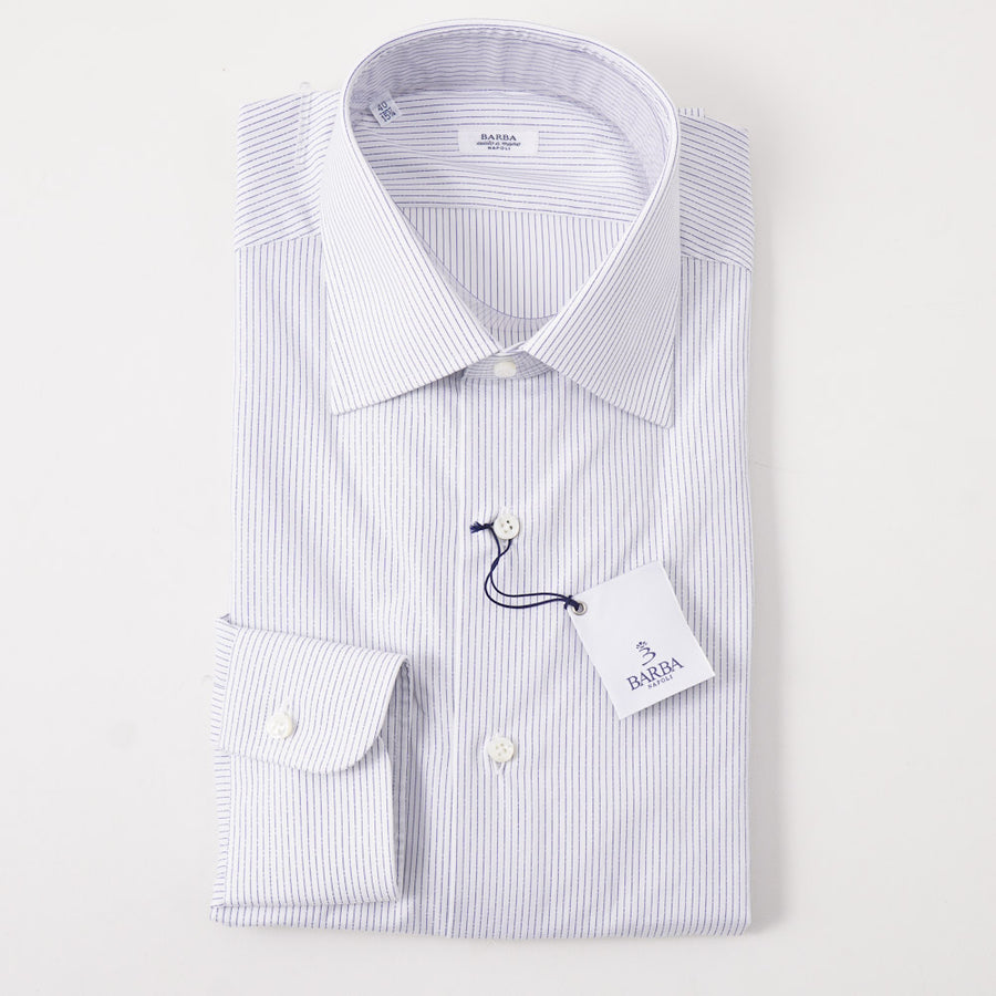 Barba Cotton Shirt in White and Navy Dashed Stripe