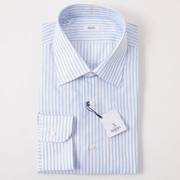 Barba Cotton-Linen Shirt in Sky Blue Stripe