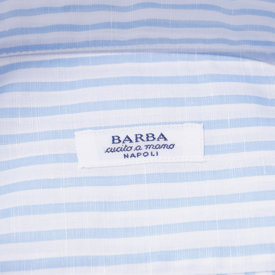 Barba Cotton-Linen Shirt in Sky Blue Stripe - Top Shelf Apparel