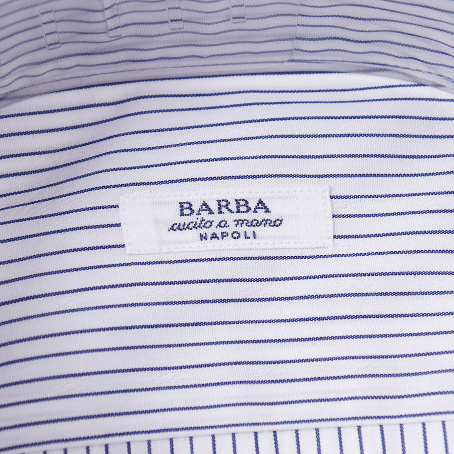 Barba Cotton Shirt in White and Navy Stripe - Top Shelf Apparel