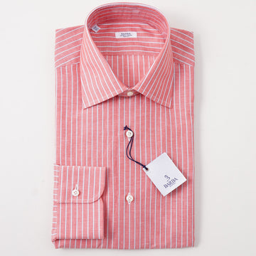 Barba Cotton Shirt in Coral Red Stripe