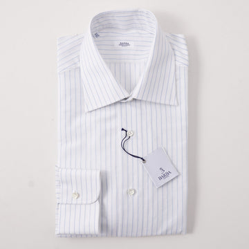 Barba Cotton Shirt in White and Sky Blue Stripe