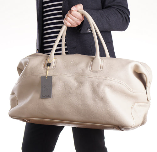 6bcaab01d Canali Ivory Leather Weekender Duffle Bag