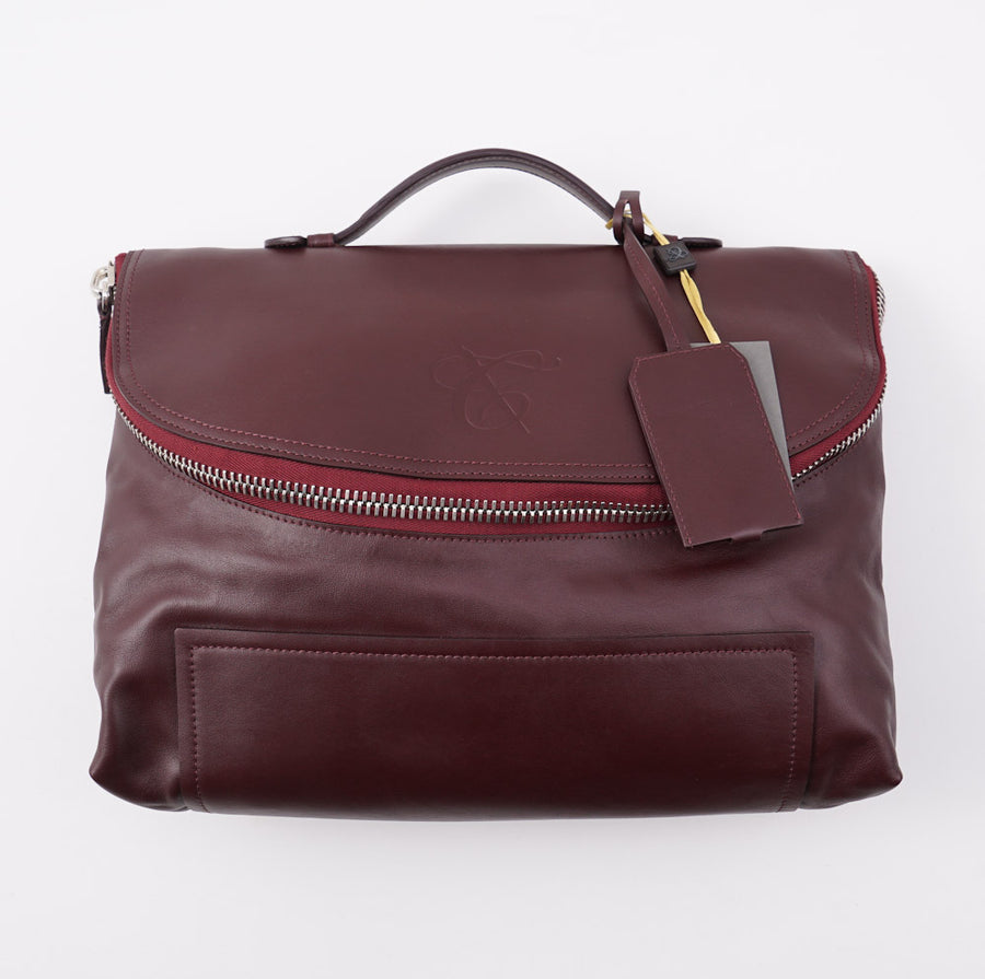 Canali Soft Burgundy Calf Leather Briefcase - Top Shelf Apparel