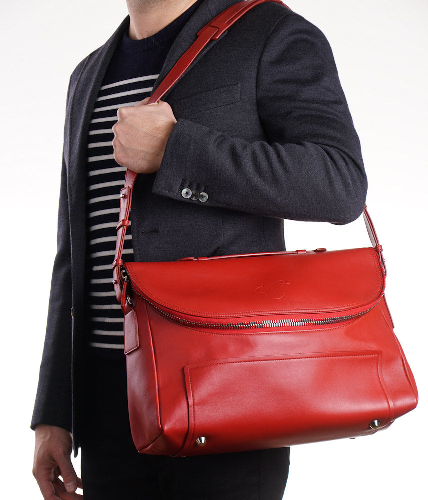 Canali Tomato Red Leather Shoulder Bag
