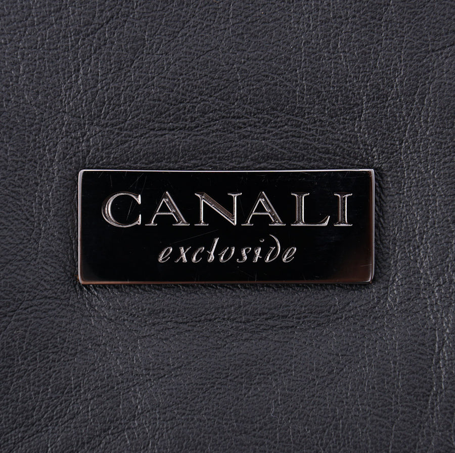Canali Exclusive Black Leather Day Bag - Top Shelf Apparel