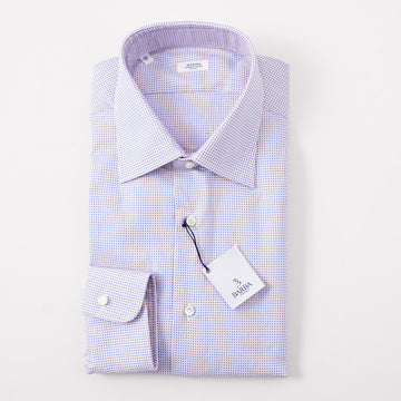 Barba Cotton Shirt in Pink and Blue Dot Jacquard