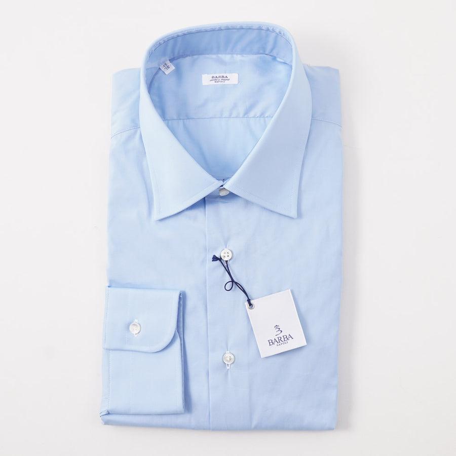 Barba Cotton Shirt in Light Sky Blue Solid - Top Shelf Apparel