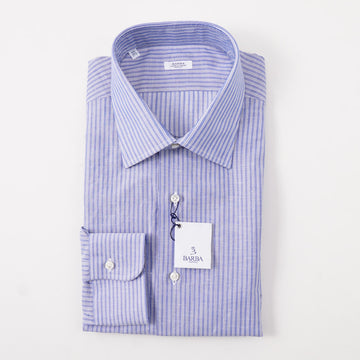Barba Cotton Shirt in Blue and Navy Stripe