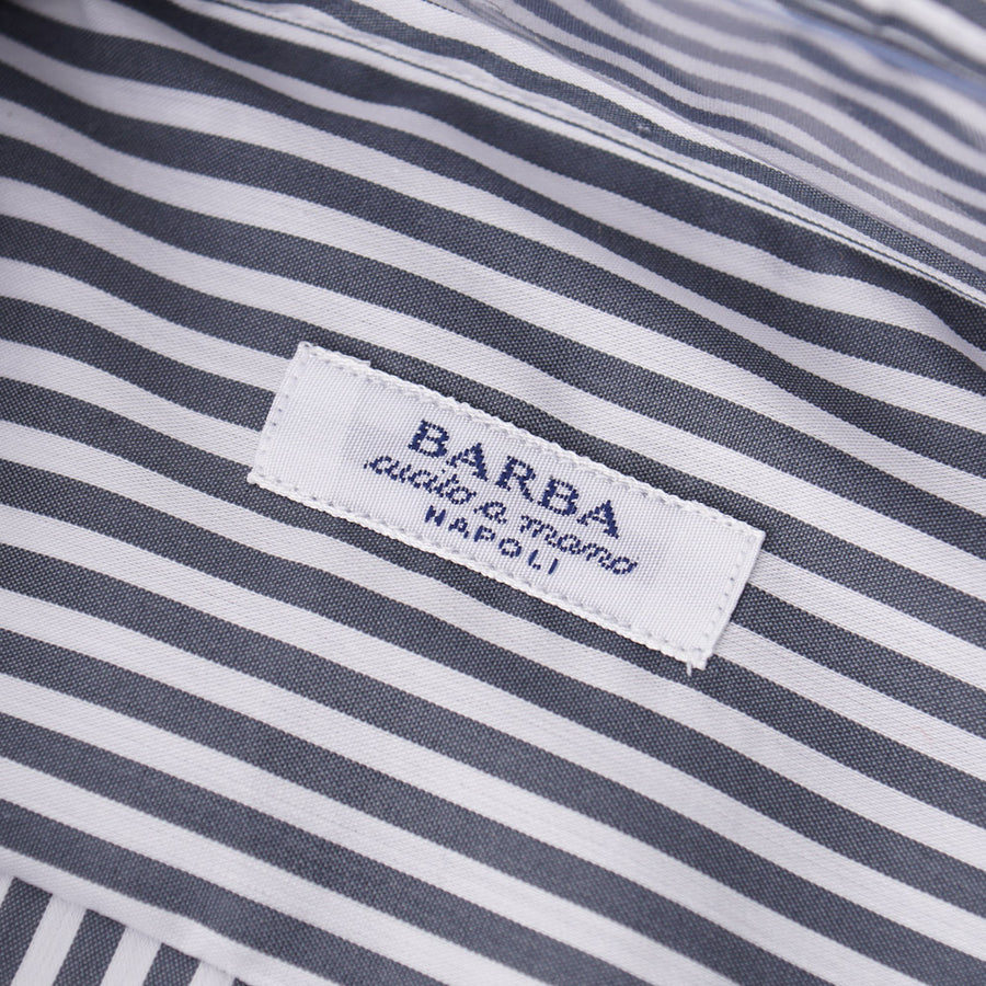 Barba Cotton Shirt in Gray Bengal Stripe