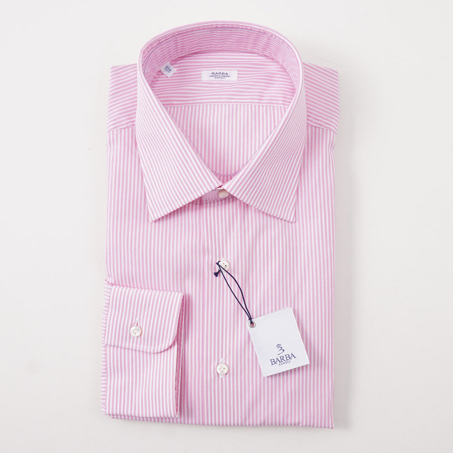 Barba Cotton Shirt in Pink and White Stripe