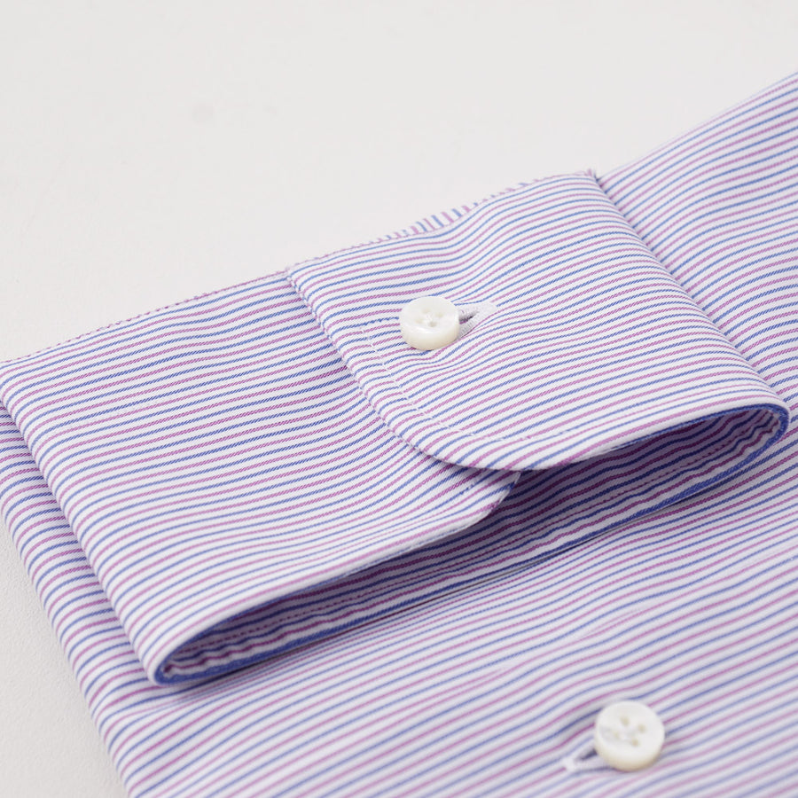 Barba Cotton Shirt in Blue and Plum Stripe