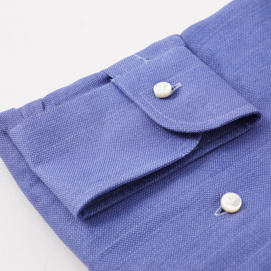 Barba Cotton Shirt in Blue Pinpoint Oxford